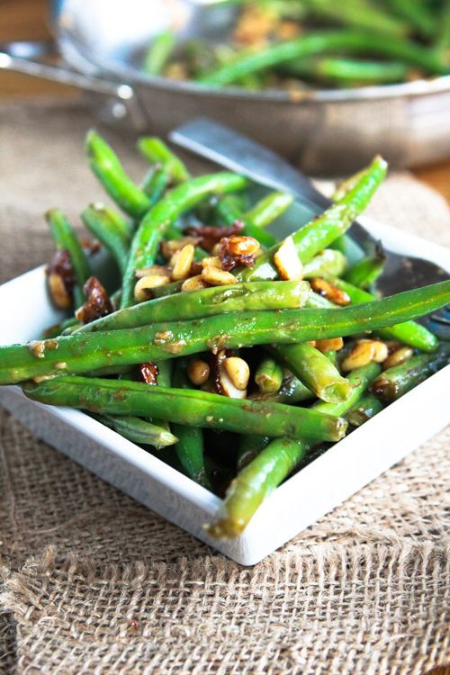 Miso Green Beans with pine nuts/almonds and lemon