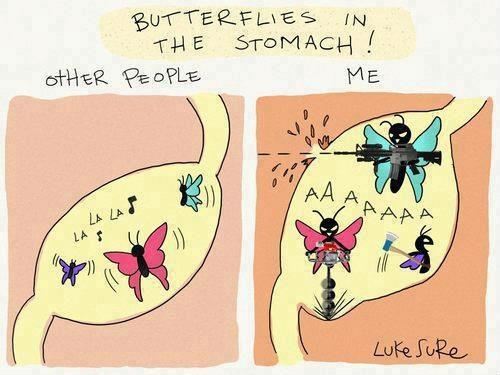 Resultado de imagem para butterflies stomach gif