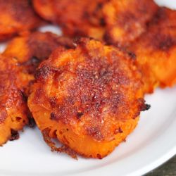 Smashed sweet potatoes - spicy and sweet inside, crunchy outside.