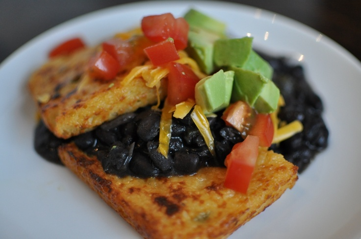 spicy black beans with cheddar grit cakes