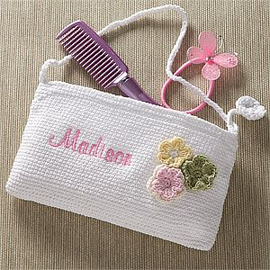 Embroidered Flower Crochet Purse