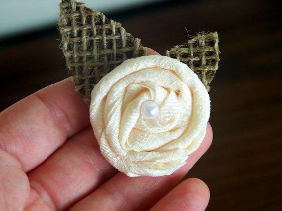 French Vanilla Waffle Cone, Fabric Rosette Boutonniere, Shabby Chic W ...