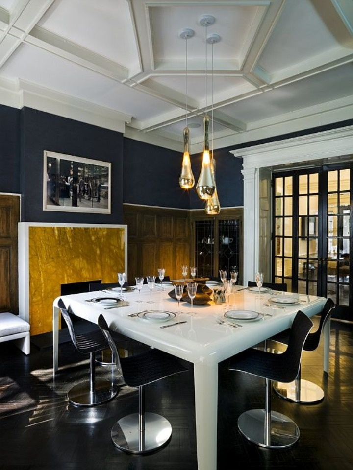 Navy gold dining room chevron chandeliers pinterest for Navy dining room ideas