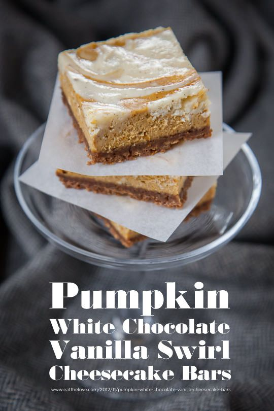 Pumpkin White Chocolate Vanilla Bean Marbled Cheesecake Bars Recipes ...
