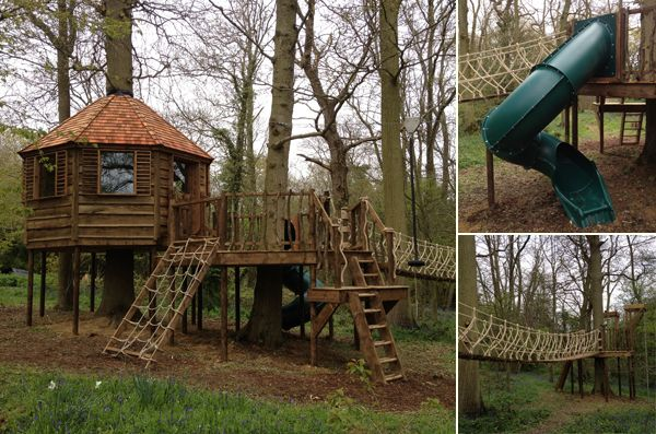 treehouse with rope bridge treehouses playhouses