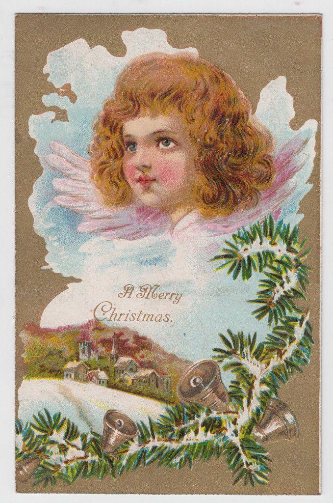 Christmas Beautiful Angel Wavy Hair UDB IPC Vintage Postcard: pinterest.com/pin/160651911681571273