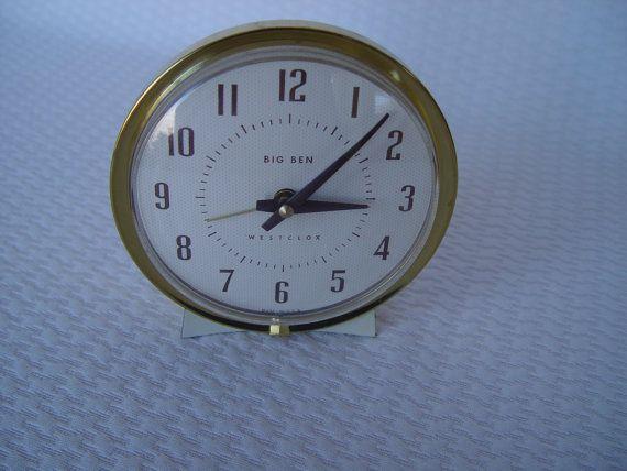 Vintage Big Ben Wind Up Alarm Clock by Westclox, Travel Alarm Clock