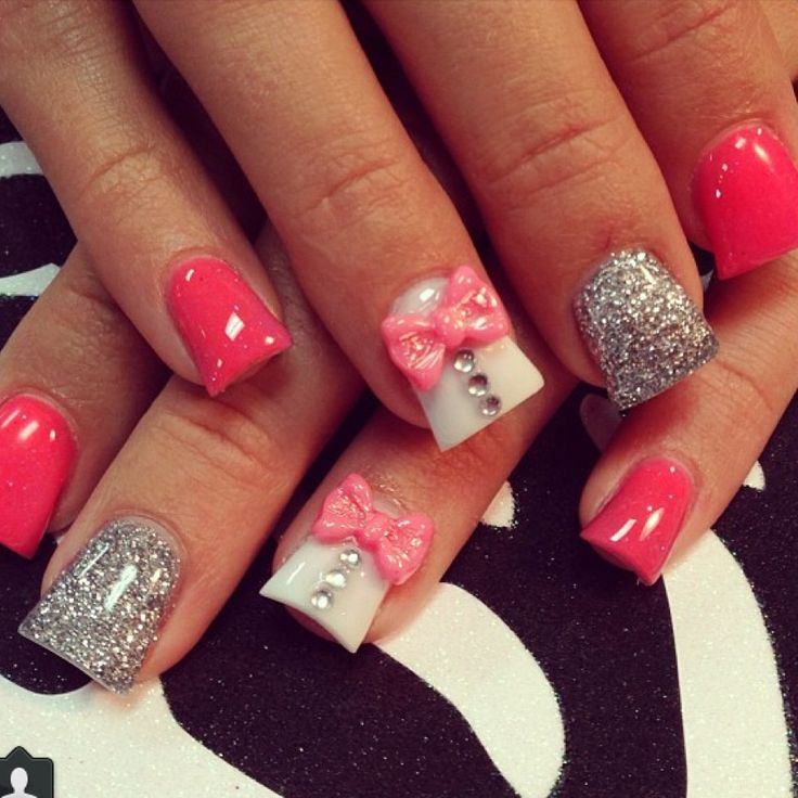 acrylic nail designs with bows tumblr 2017 2018 best