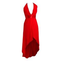 1970's Halston Low-Plunge Red Silk-Chiffon Halter Dress
