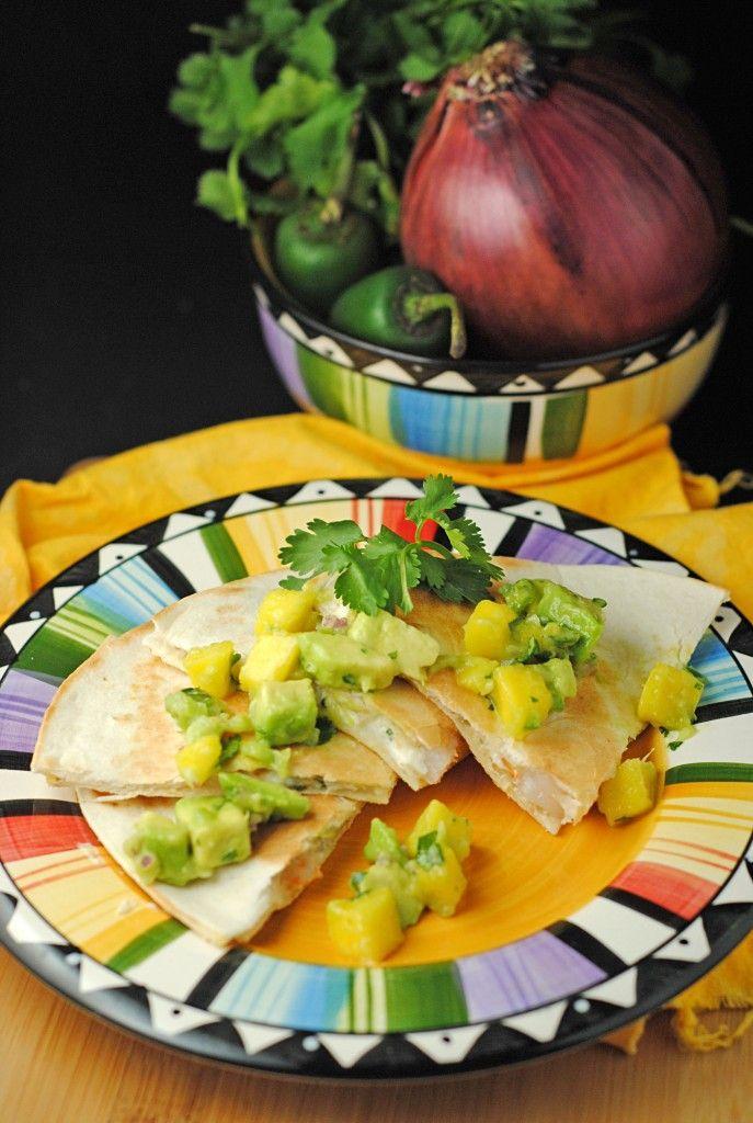 jcocina.com: Cilantro Shrimp Quesadillas with Mango Avocado Salsa