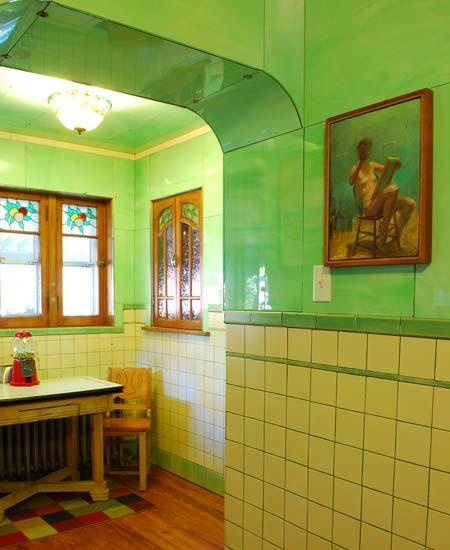 Bungalow Green Tile Kitchen