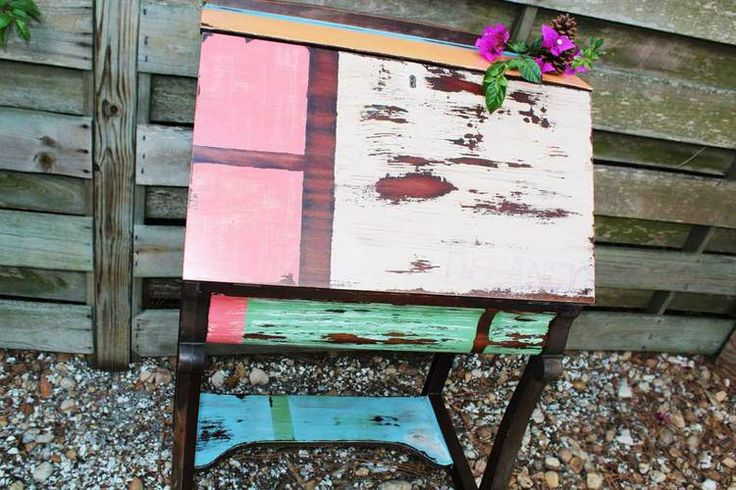 Multi Colored Desk Distressed Tratamientos Madera Pinterest