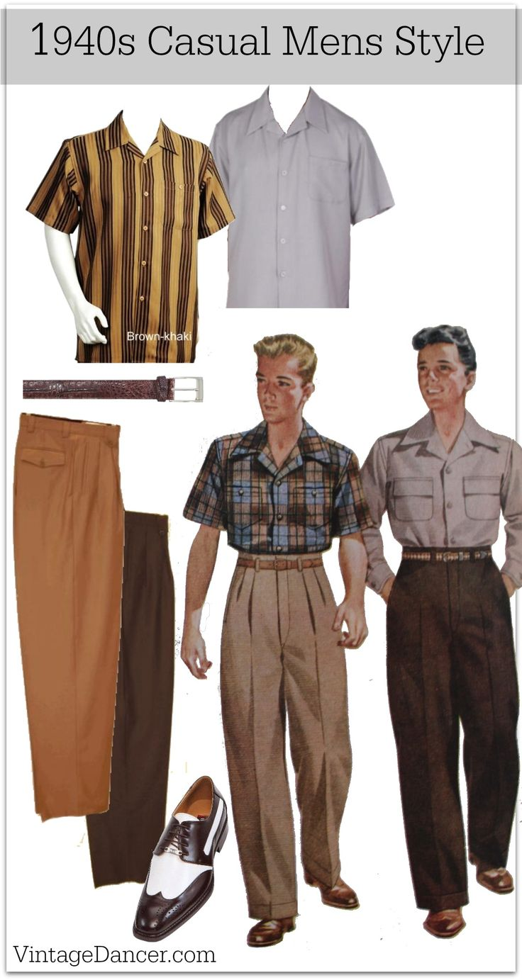 1940s Mens Casual Clothing Shirts Trousers Pullover