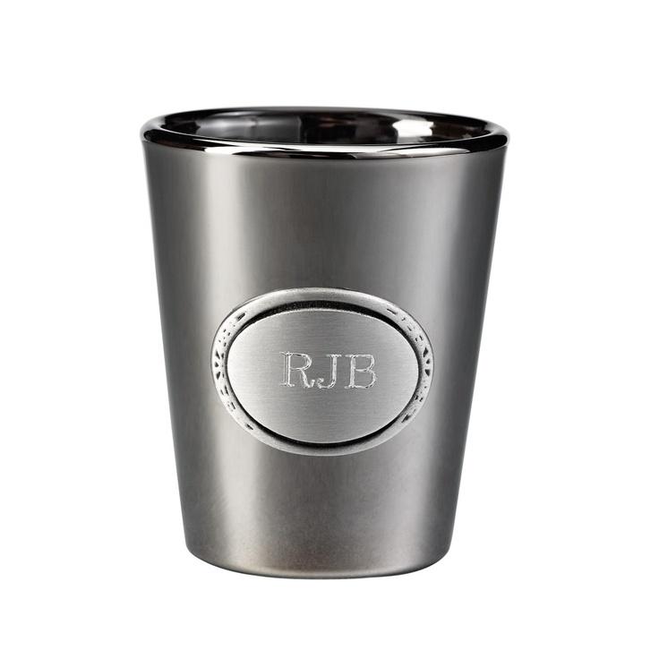 Personalized gunmetal shot glass exclusivelyweddings