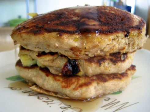 whole wheat banana nut sour cream pancakes. yes.