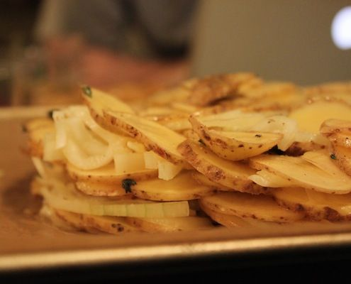 Duck Fat-Potato Galette with Caraway and Sweet Onions | Recipe