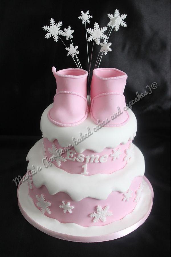 winter girl cake baby girl cakes pinterest