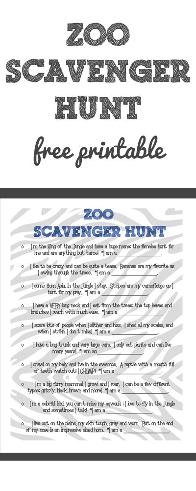 This is a graphic of Astounding Zoo Scavenger Hunt Printable