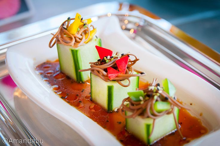 chilled soba in cucumber cups shark tape on the stereo chilled soba in ...