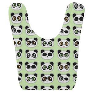 Cute panda expressions pattern bib