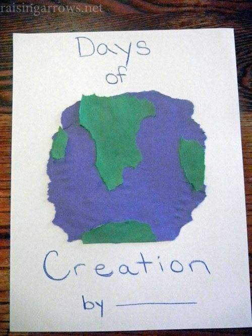 Days of Creation notebooking pages made from torn construction paper. Alternative to having them draw the days.