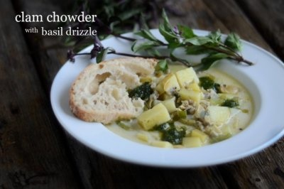 clam chowder with basil drizzle - blender stir-fry soup/stew gluten ...