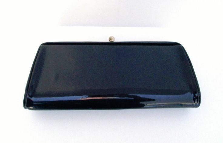 Vintage Navy Blue Patent Leather Clutch Purse Push Button Clasp # ...