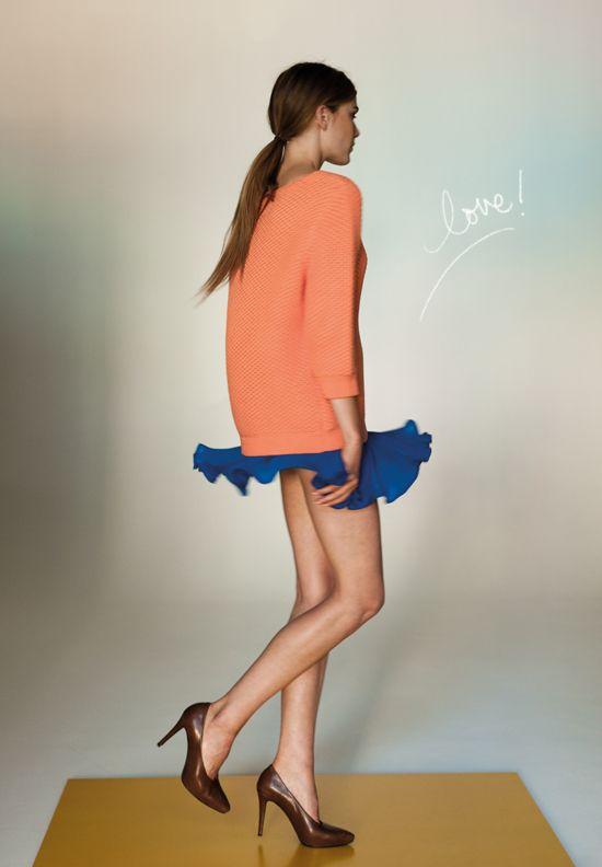 flouncy skirt, long sweater
