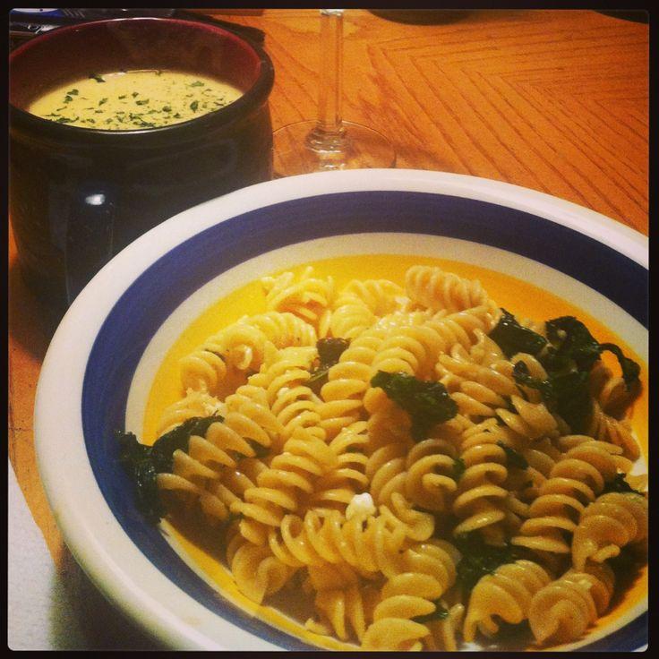 acorn squash soup and kale pasta | The Negative 15 | Pinterest