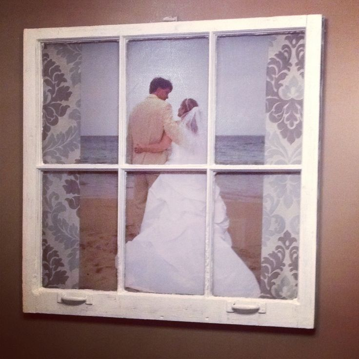 wedding pic behind old window craft projects pinterest