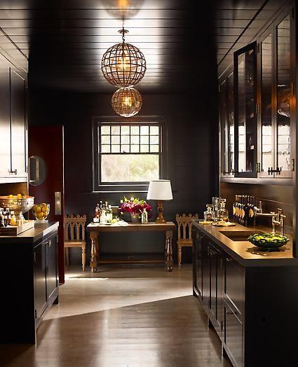 kitchen cabinets black base wood top; black ceiling wooden