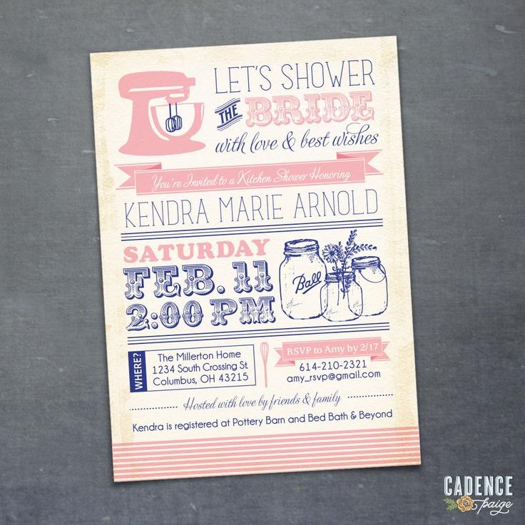 Kitchen Shower Invitation Mason Jar Invitation Bridal Shower Invita