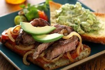 Carne Asada Steak Sandwich with Avocado Salad