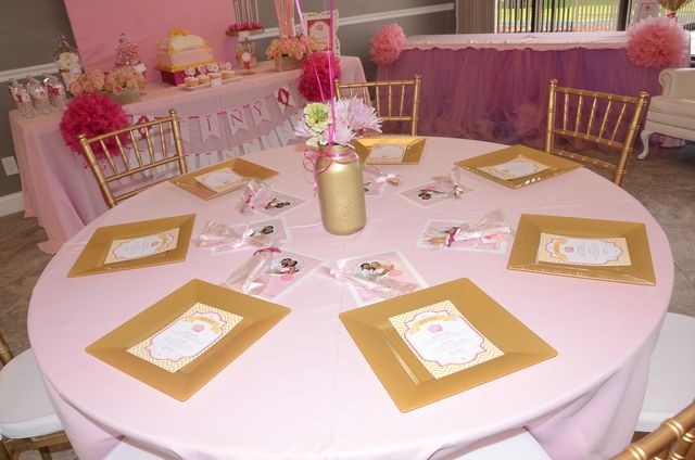 royal princess baby shower theme table at a princess party