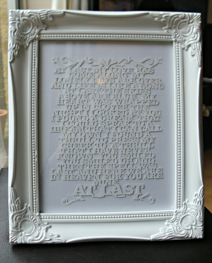 Hand Made Custom Paper Cut Of Your Special Song Poem Wedding Anni