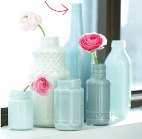 DIY painted glass bottles/jars for vases