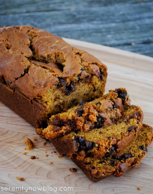 butterscotch and chocolate chip pumpkin bread!