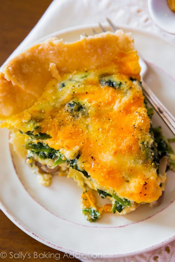 This super cheesy spinach quiche is baked in my favorite homemade pie ...