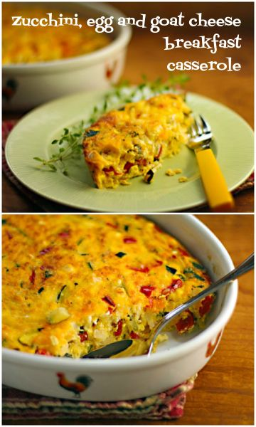 Zucchini, egg and goat cheese breakfast casserole, perfect for brunch.