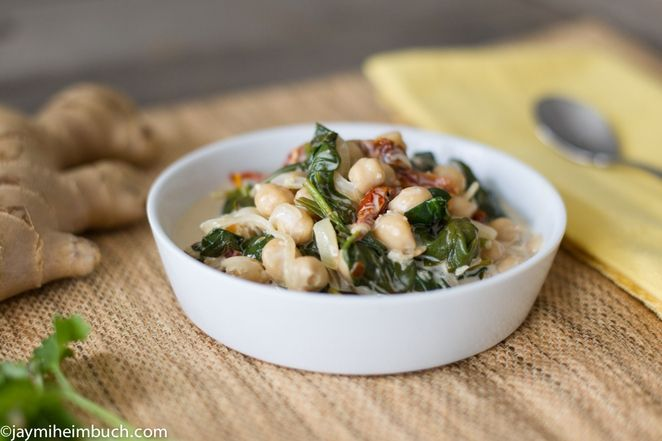 braised coconut spinach and chickpeas. made this for lunch today minus ...