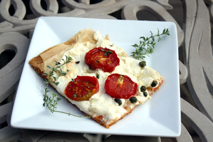 phyllo pizza with smoked mozzarella and roasted cherry tomatoes {This ...