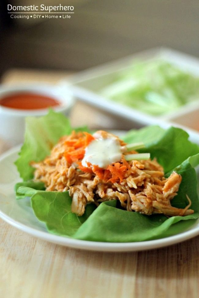 Slow Cooker Buffalo Chicken Lettuce Wraps // serve on greens for low ...