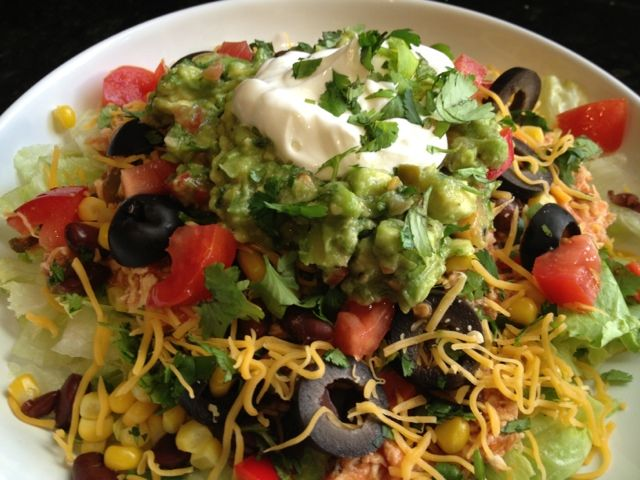 Chicken taco salad: cooked a chicken breast in salsa then shredded it ...