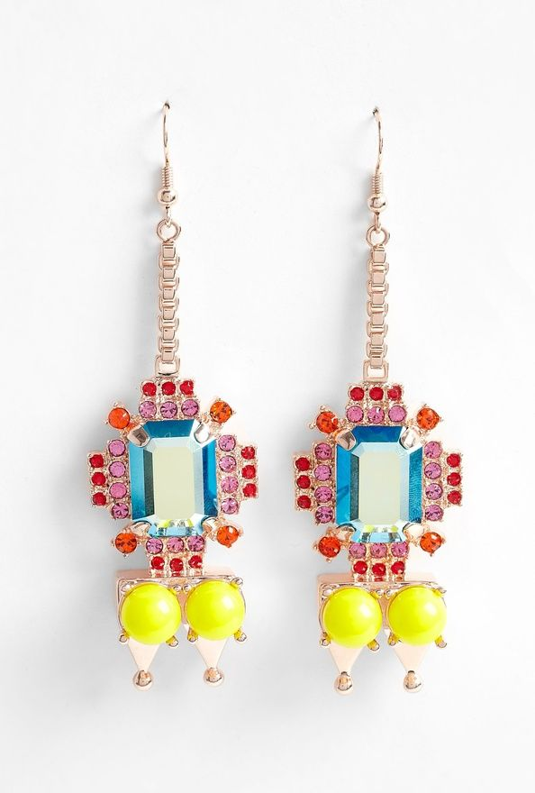 Mawi pyramid and gem stone earrings. They make pink, red and neon yellow look like they are a match made in heaven.  #mawi #pyramid #earrings
