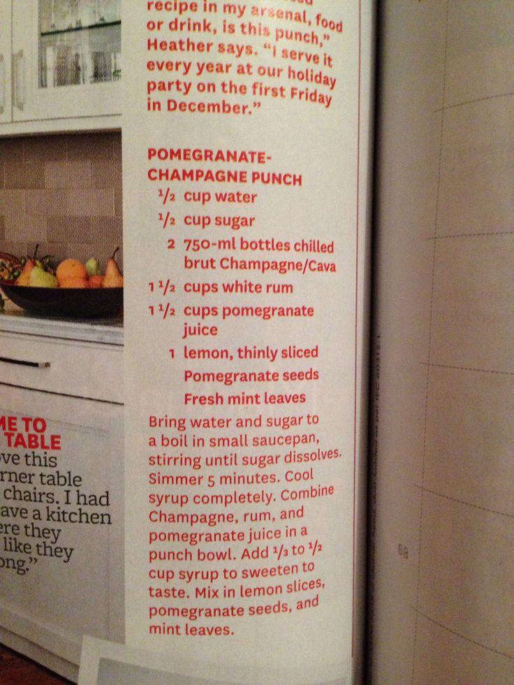 Pomegranate Champagne Punch (BH&G) | Refreshing | Pinterest