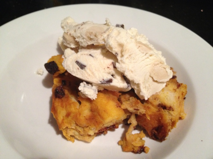 pumpkin bread pudding with ice cream | bake and make | Pinterest