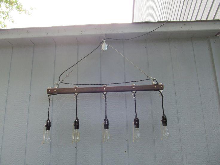 edison bulb track and pulley light fixture by doratherestorer. Black Bedroom Furniture Sets. Home Design Ideas