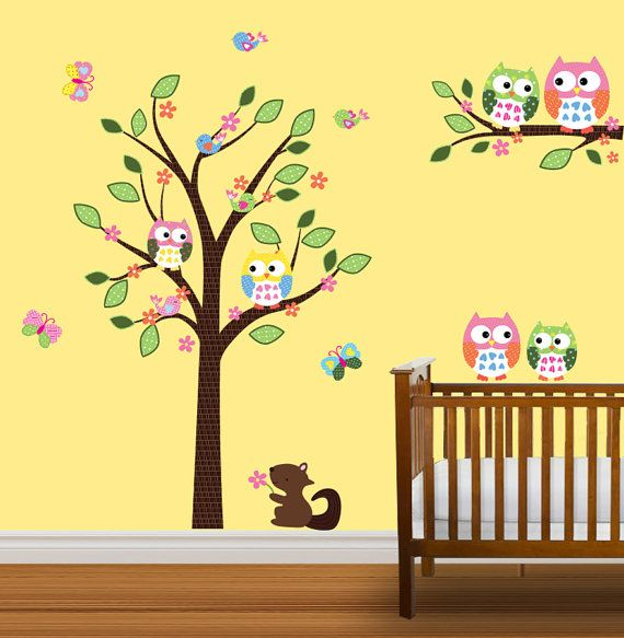 childers nursery owl wall decal baby tree decal by nurserydecals 99