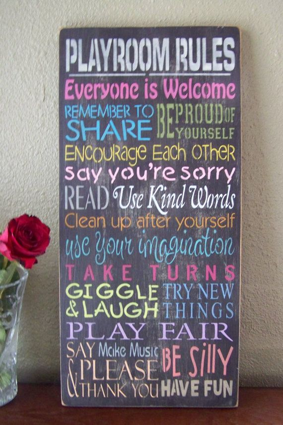 Playroom rules sign hand stenciled painted wood sign for Signs for kids rooms