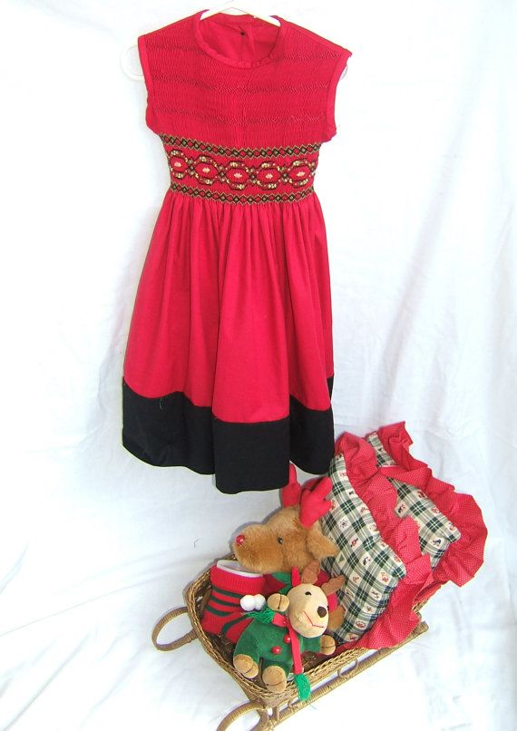 Smocked girls dress size 1 6 christmas themed fabric choices available